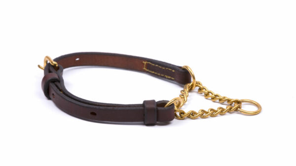 Product photo half check collar brown